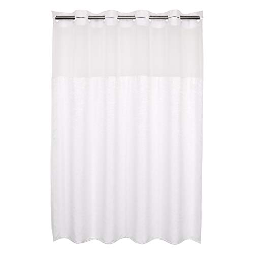 No Hooks Needed Textrue Fabric Shower Curtain with Snap in Liner – Hotel Grade, Spa Like – 71×74 inch, White