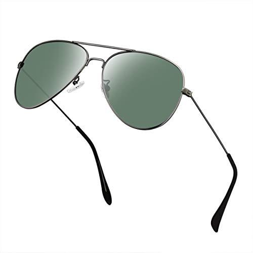 Polarized Aviator Sunglasses for Men/Women Metal Mens Sunglasses Driving Sun Glasses (Dark Green Lens/Gunmetal ()