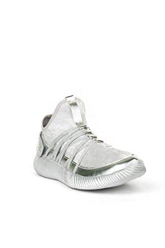 Hadari Femmes Flyknit Bas Haut Mode Métallique Sneaker