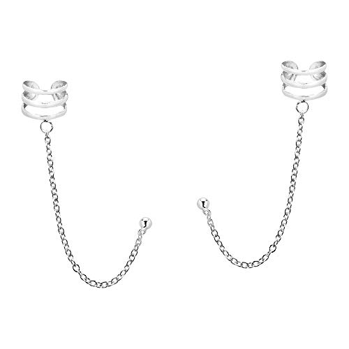 Triple Cuff Chain .925 Sterling Silver Post Earrings