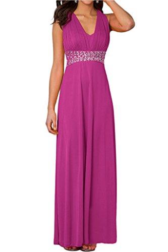 Rueckfrei Festkleid Elegant Damen Promkleid Fuchsie V Ausschnitt Ivydressing Abendkleid Steine ZTXSxFqww