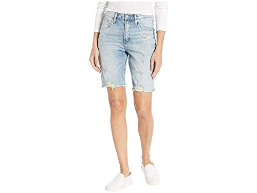 Light Vintage Silver Jeans Co. Womens Frisco Vintage High Rise Knee Shorts Shorts
