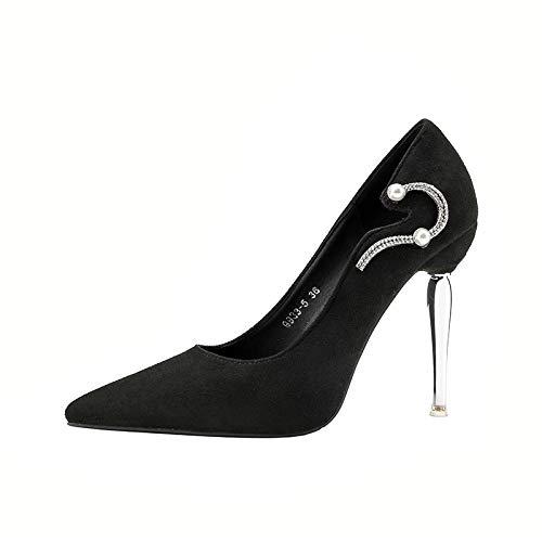 noir 35 EU FLYRCX Style européen Simple Strass Luxe Sexy a souligné la personnalité Talon Haut Talon Aiguille Chaussures Simples Chaussures de Mariage