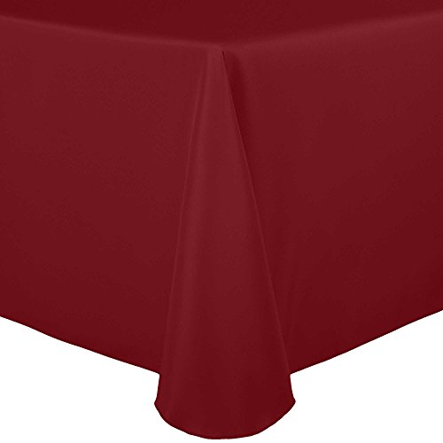 Ultimate Textile 60 x 120-Inch Oval Polyester Linen Tablecloth Holiday Red