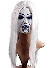 Gmddpjfl Scary halloween mask Fun Point Masquerade Mask Halloween Mask Latex Mask Horror Mask - White Hair Bleed Halloween scary mask adult (Color : A) (Color : A)