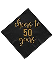 Cheers to 30, 40, 50, 60, and 70 years gold foil napkins!