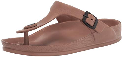 LUFFYMOMO Adjustable Slip on Eva Double Buckle Slides Comfort Footbed Thong Sandals for Womens