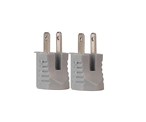 Cooper BP419GY/15 2-Pole 2-Wire Grounding Adapter 2-Pack (Gray)