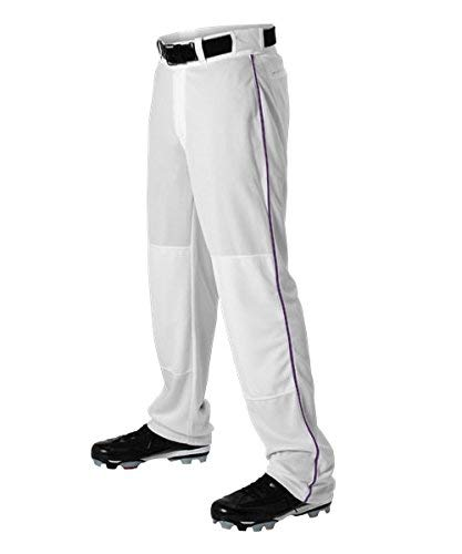 Alleson Ahtletic Boys Youth Baseball Pants with Braid, White/Purple, Large by Alleson Athletic