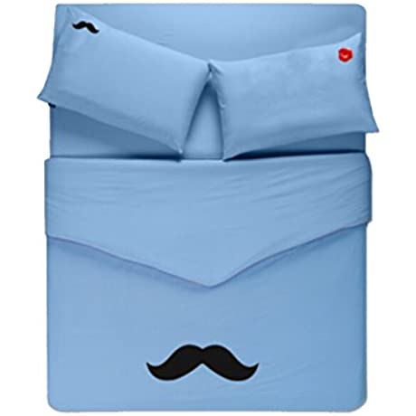 Linta Sky Blue Beard Pattern Bedding Set Full