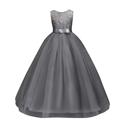Sinfu Flower Kids Girl Dress Princess Formal Pageant Holiday Wedding Bridesmaid Dress 5-12T (12 Years, Gray)