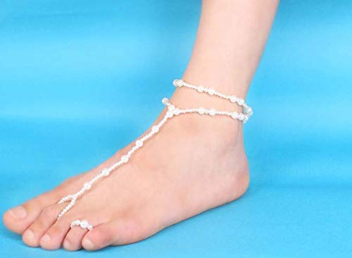 Simple Double-layer Beach Anklet For Women New White Simulate Pearl Anklet Fashion Foot Jewelry Summer Bracelet Lindsie-Box