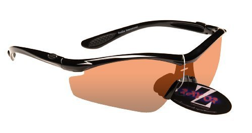 RayZor Professional Lightweight UV400 Black Sports Wrap Golf Sunglasses, With a Clear Amber Anti-Glare - Golf Sunglasses Bloc