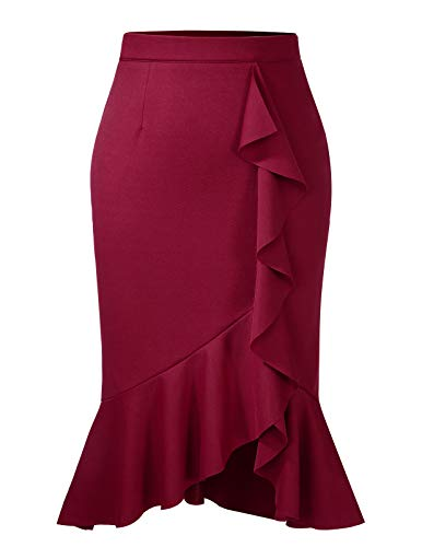 Ladies Fishtail Ruffle Elastic Waist Party Midi Split Pencil Skirt Wine Red XL