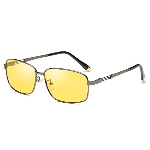 UV Gun Travel Eyewear Sunglasses Lens Sunglasses Night Discoloration Sunglasses Yellow discolor SquareAnti Sunglasses Shield Frame Night Coolest Driving and Use Use Day night B Vision Men Avitor Fashion Eyeglasses Polarized gnvnHwU8q