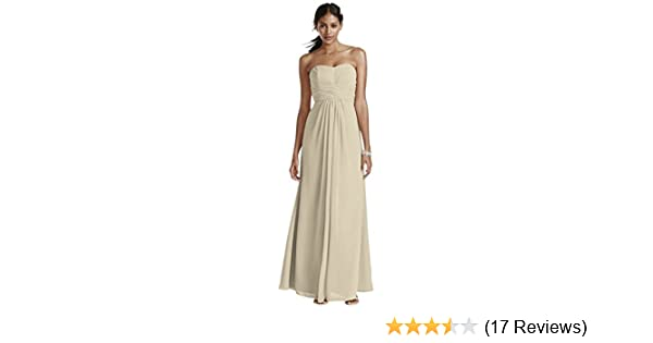 074db9040c26 David's Bridal Long Strapless Chiffon Bridesmaid Dress with Pleated Bodice  Style F15555