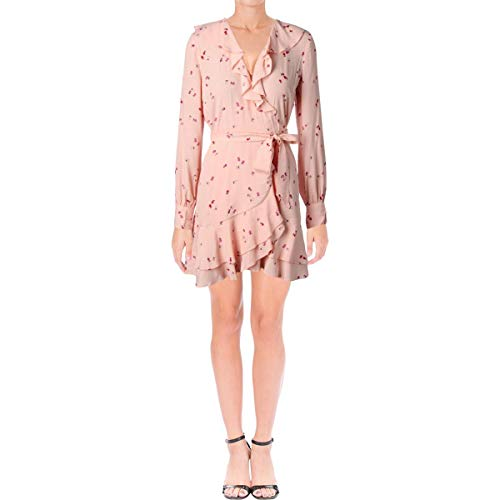 Juicy Couture Black Label Womens Floral Print Long Sleeves Wrap Dress Pink XS -