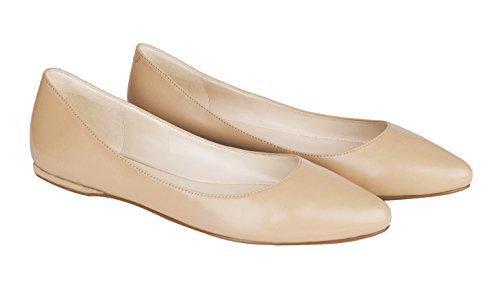 Sandalo Da Donna In Vera Pelle Scamosciata Punta A Punta Ballerine Da Ballerina Casual Scarpe A-nude In Pelle