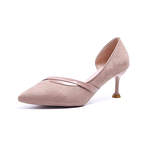 Side Eightbeige Pointed Femminile Shoesthirty Empty MLGSDW High Pelle Heel Shoe Heel Single Girl Multi Touch scamosciata Shallow New Fine 1xfqUXf7