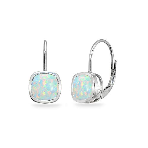 Sterling Silver Simulated White Opal 6x6mm Cushion-Cut Bezel-Set Dainty Leverback Earrings for Women Teen Girls Cushion Cut Opal Ring