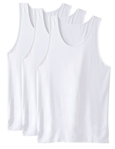 David Archy Men's 3 Pack Bamboo Rayon Undershirts Crew Neck Tank Tops(White,XL) 1x1 Rib V-neck Top
