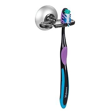 MetroDecor mDesign Portacepillos con Ventosa – Aluminio Inoxidable y plástico - Práctico Soporte para cepillos de