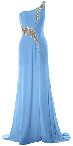 MACloth Women Mermaid Prom Dress One Shoulder Slit Jersey Formal Evening Gown Cielo azul