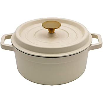 AIDEA Enameled Cast Iron Matte Dutch Oven Pot with Lid-5 Quart All-round for Preparing Low and Slow Cooking Meals Christmas Gifts-White