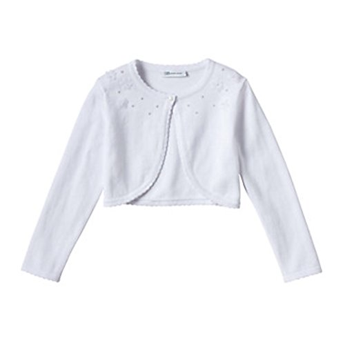 Bonnie Jean Girls Long Sleeve Embellished Cardigan, White (Small) by Bonnie Jean