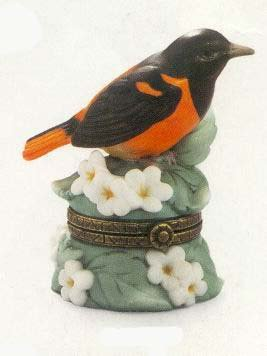 Baltimore Oriole PHB Porcelain Hinged Box - Midwest of Cannon Falls Songbird ()