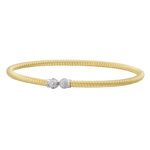 14k Yellow Gold over 925 Silver Flexible Cuff with Diamond End-Caps (0.09ctw)- 7 IN by Element Jewelry
