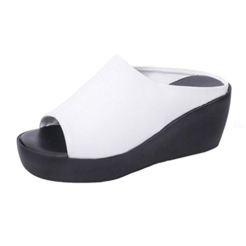 Shoes Loafer Fish Leisure Summer White Bottom Sandals for Slippers UK 5 Women Wedges Slippers Female Mouth Fashion 2 Thick wqIPw7H