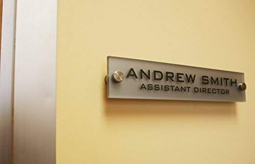 - Personalized Office Wall Name Plate Sign. Modern Stainless Steel Legs (Frosted Silver)