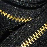"""ZipperStop Wholesale YKK® 28"""" Medium Weight Jacket Zipper YKK #5 Brass ~ Separating ~ 580 Black (1 Zipper/pack)"""