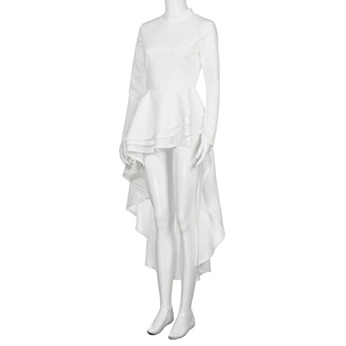 white Haute Jambe 3XL Bas Casual M Fashion la Femmes Club Jupe de Robe Robe Manches Unique LILICAT significative Longues Fermeture Longueur Peplum glissire Party Moulante Dentelle SP466wq