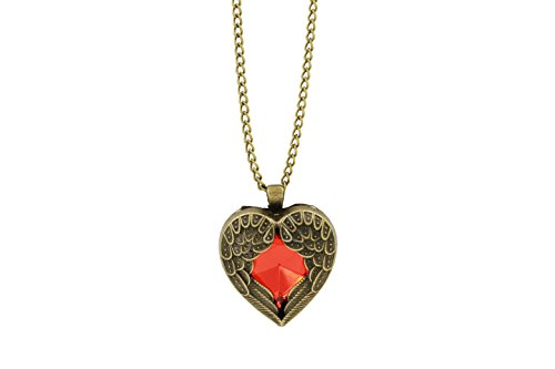 Vintage Costume Jewelry Crystal Red Heart Swarovski Necklace Bronze Vintage Pendant - Policy Return Jewelry Tiffany