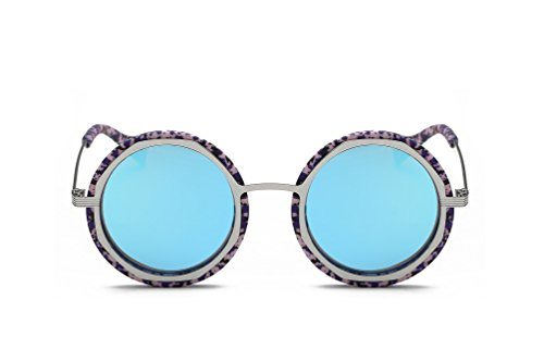 Weidan classic hippie fashion round box polarized sunglasses men and women 920 (Silver frame / ice blue lenses, - Sunglasses Are What In 2018 Style