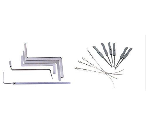 Supyigou Broken Key Extractor Tools Door Lock Repair Tools Locksmith Supply (Small 10pcs +5pcs tension tools)