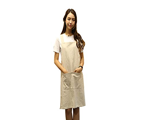 Funky Cross - KKTech Chef Apron with Front Pockets, Japanese Style Apron, Unisex Bib Kitchen Apron, Soft Cotton Linen Apron, Perfect for DIY Project, Crafting, Cooking, Baking, BBQ (H Strap Style-Beige)