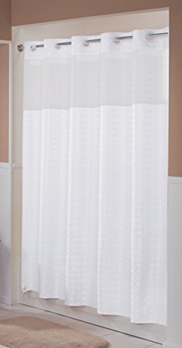Hookless RBH43MY042 Litchfield Polyester with PEVA Liner and Flex-On Rings Shower Curtain, Bright White, 71 x - Curtain On Plaid A