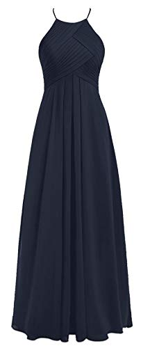 Talinadress Mousseline Robe De Bal Robe De Demoiselle D'honneur Spaghetti Licol E066lf Bleu Marine