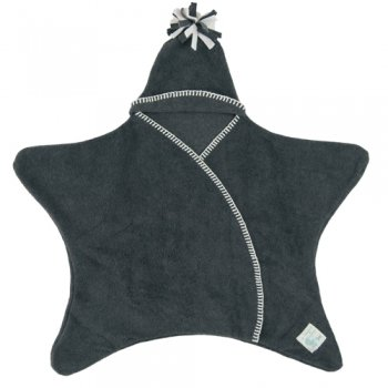 Tuppence and Crumble Star Baby Wrap Charcoal Size Large