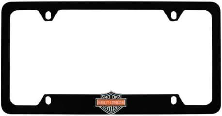 Harley-Davidson Flat Matte Black License Plate Frame Holder 3D Color Bar Shield