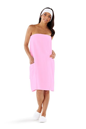 Boca Terry Womens Spa Wrap - 100% Cotton Spa, Shower, Bath and Gym Towel w Snaps - Med/Large, XXL, 4XL, 6XL Pink ()