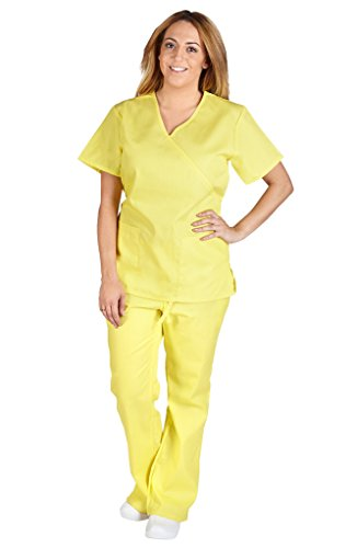M&M Scrubs Women Mock Wrap/Flare Pant Set Medical Scrub Set XXL - Tie Wrap Back Mock