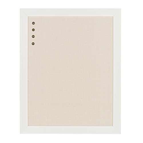 DesignOvation Beatrice Framed Linen Fabric Pinboard, 23x29, White (Fabric Board)