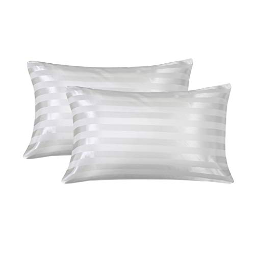 (LANNOMO Satin Pillowcase for Hair and Skin with Envelope Closure | a Set of 2 Pack | Cool Smooth and Soft | Standard/Queen Size 20x30 - White Stripe)