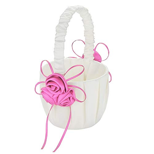 Infgreate Wedding Bridal Page Boy Ribbon Satin Faux Rose Flower Girl Basket Party Decor Pink