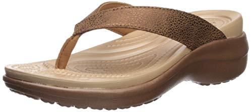 Crocs Women's Capri MetallicText Wedge Flip Flop, Bronze, 8 M US