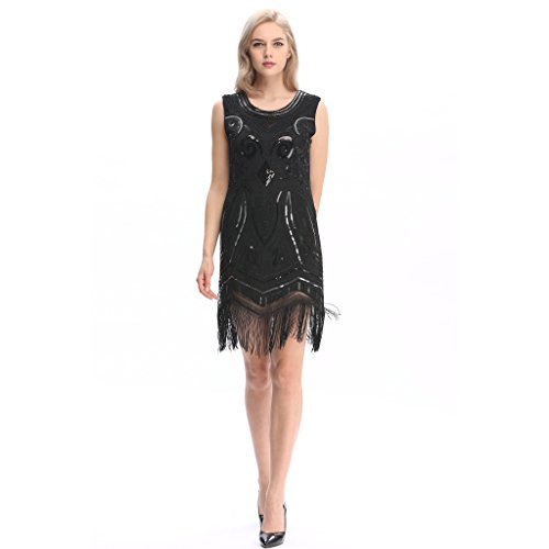 (Pilot-Trade 20s Flapper Gatsby Charleston Sequin Bead Evening Cocktail Prom Dress (10-12,Black))